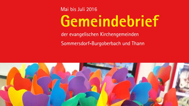 Gemeindebrief Mai – Juli 2016