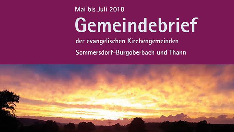 Gemeindebrief Mai – Juli 2018