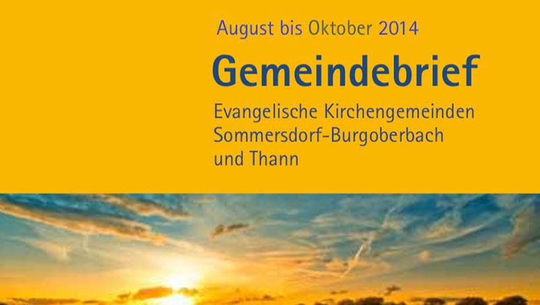 Gemeindebrief August – Oktober 2014