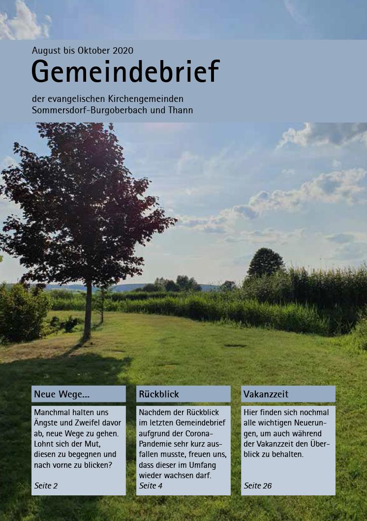 Gemeindebrief August – Oktober 2020